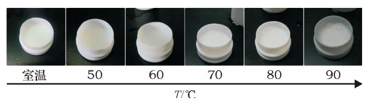 图7不同温度水浴密闭消解20min后罐盖上的水滴附着