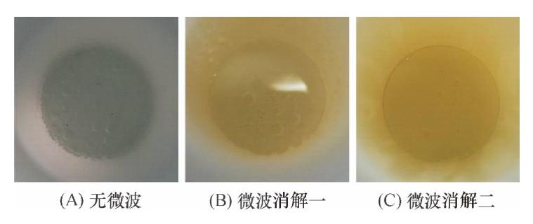图8无微波消解和微波消解的实验效果